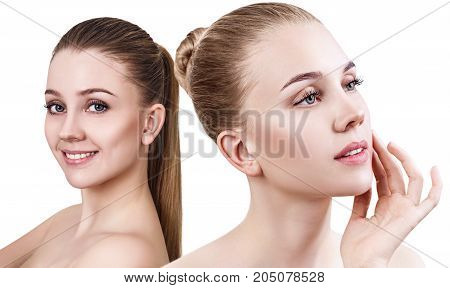 Collage of beautiful sensual woman with perfect clean skin. Over white background.