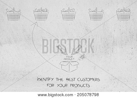 Identify The Best Costumers For Your Product With Arrow Pointing At One Shopping Basket Among Others