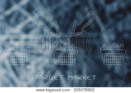 Arrow Pointing At One Shopping Basket Among Others, Target Market
