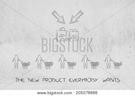 Shopping Bags With New Products And Line Of Customers With Full Carts
