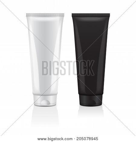 Set of cream tube icon set. Design template cosmetic tube closeup. Vector mock-up for branding and advertise for your design