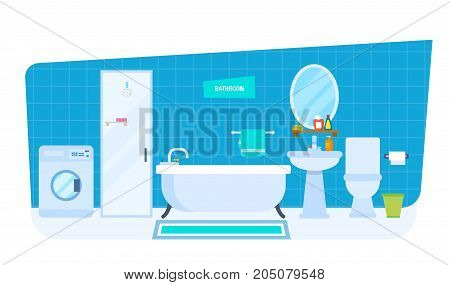 Modern interior of the bathroom, furniture, household items, room architecture. Bathroom, washbasin with mirror, toilet, dryer, washing machine, shower cabin Vector illustration isolated