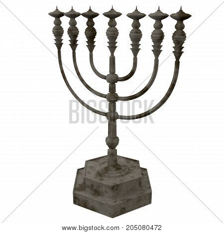 Ancient ritual candle menorah isolated. 3D render