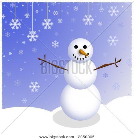 Winter Snowman Scene