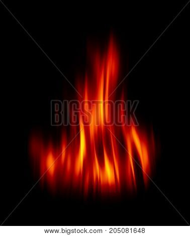 Blurred fire flames on a black background