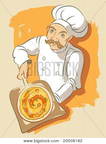 Illustration in a loose brushy style of a pizza chef holding a pizza on a pizza plank as used with a brick oven. He is wearing a chef's hat and jacket. poster