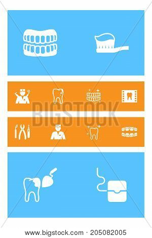 Collection Of Orthodontist, Stabilize, Clean And Other Elements.  Set Of 12 Dental Icons Set.