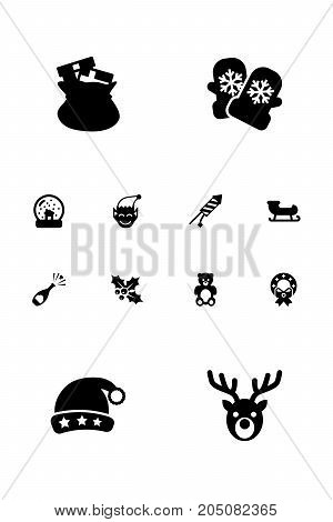Collection Of Christmas Wreath, Mitten, Firework And Other Elements.  Set Of 12 Holiday Icons Set.