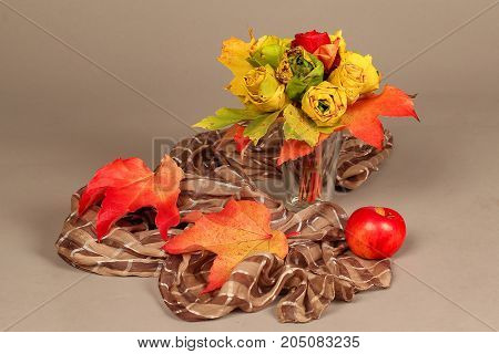 Autumn still life / Decorative roses from maple leaves