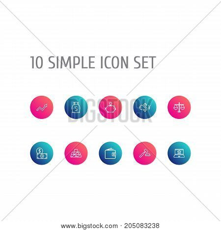 Collection Of Wallet, Moneybag, Grow Up And Other Elements.  Set Of 10 Budget Outline Icons Set.