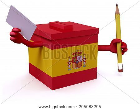Spanish election ballot box whit arms legs envelope paper and pencil on hands 3d illustration
