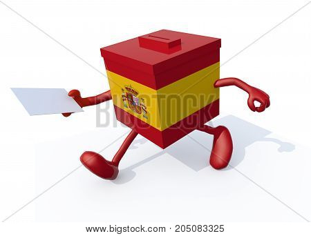 Spanish Election Ballot Box Whit Arms, Legs And Envelope Paper On Hands