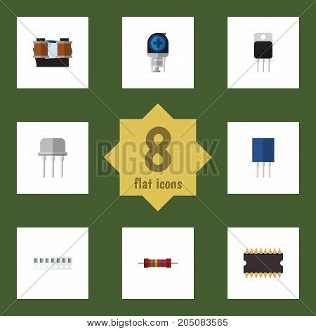 Flat Icon Appliance Set Of Receiver, Transducer, Coil Copper And Other Vector Objects