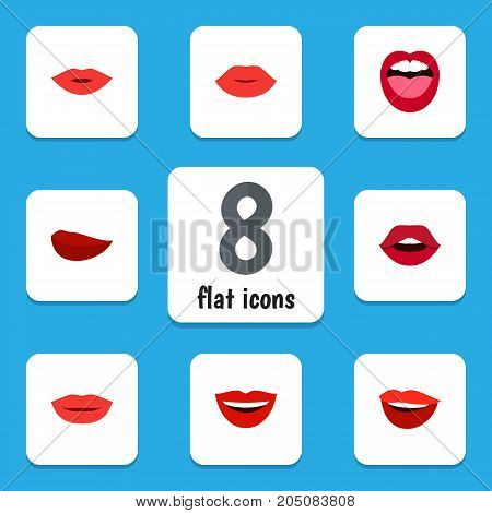 Flat Icon Lips Set Of Lipstick, Lips, Laugh And Other Vector Objects