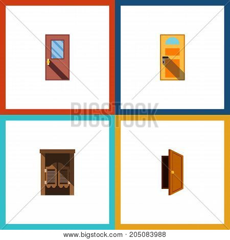 Flat Icon Approach Set Of Saloon, Door, Exit And Other Vector Objects