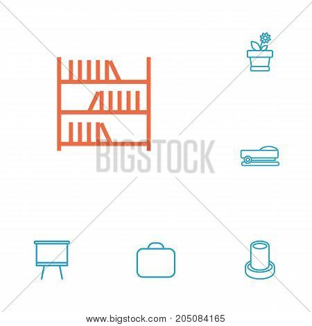 Collection Of Briefcase, Pencil, Bookshelf And Other Elements.  Set Of 6 Bureau Outline Icons Set.