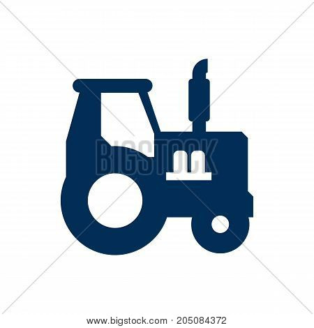 Vector Farm Vehicle Element In Trendy Style.  Isolated Tractor Icon Symbol On Clean Background.