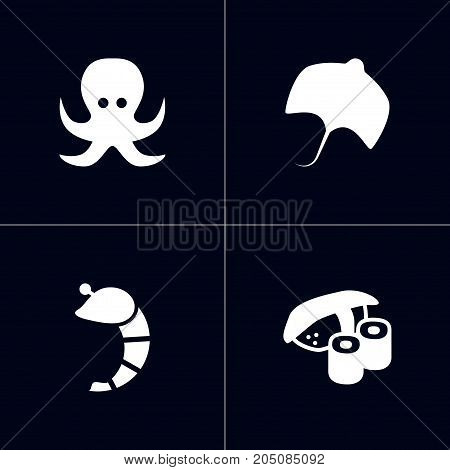 Collection Of Devilfish, Stingray, Japanese Roll And Other Elements.  Set Of 4 Sea Icons Set.