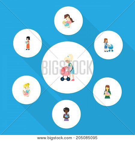 Flat Icon Parent Set Of Perambulator, Mam, Baby And Other Vector Objects