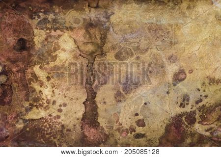 Strong corrosion of metal surface. Copper rusty texture. Abstract image. Background. Template.