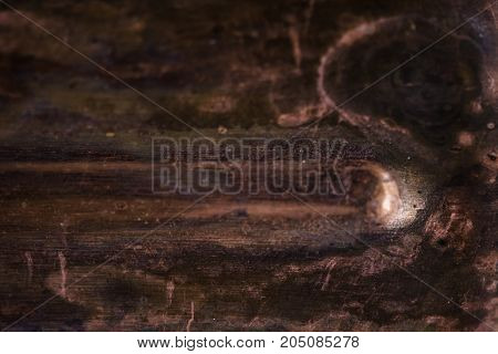 Strong corrosion of metal surface. Copper texture. Rust. Background. Template.