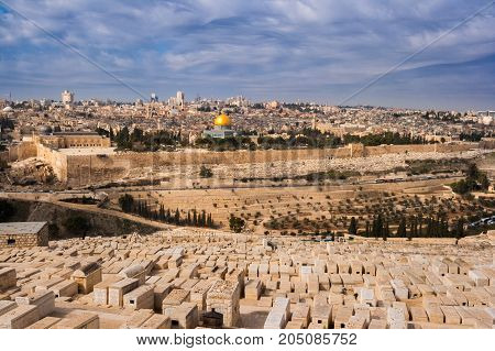 View on Jerusalem and the Temple Mount with the Dome of the Rock and the Mount of Olives. Palestine-Israel