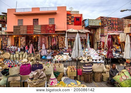 MARRAKECH MOROCCO - APR 28 2016: Berber market selling textile in the souks of Marrakesh.