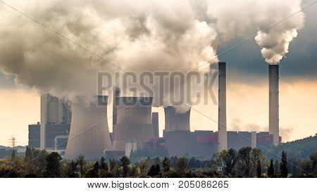 Brown coal power plant air pollution emission.