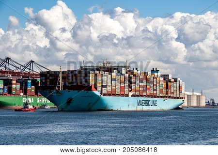 Large Container Ship Entering Port