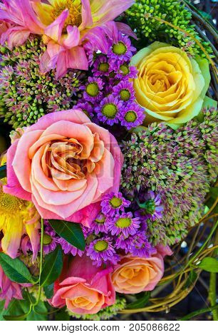 Background of bright flowers. bouquet of roses