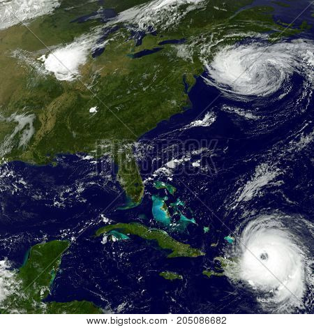 Hurricane Maria and Tropical Storm Jose - satellite image. Elements of this image are furnished by NASA