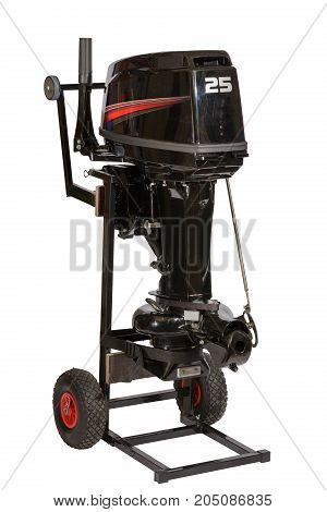 Outboard water-jet motor on a trolley for transportation isolated on white background