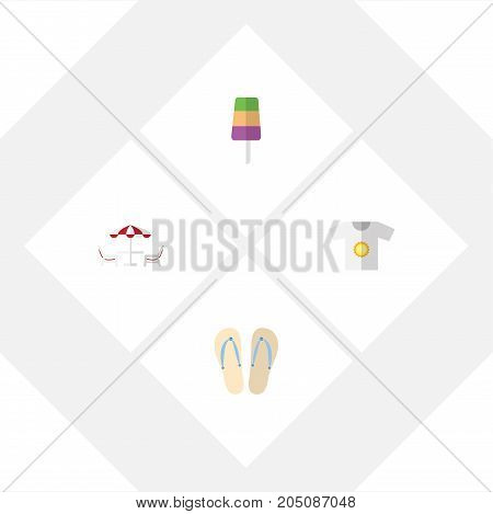 Flat Icon Beach Set Of Recliner, Sundae, Clothes And Other Vector Objects