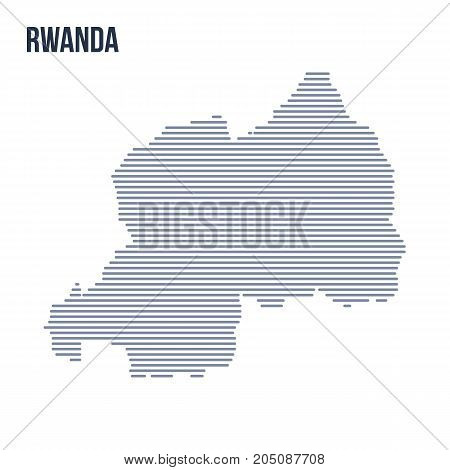 Vector Abstract Hatched Map Of Rwanda With Horizontal Lines Isolated On A White Background.
