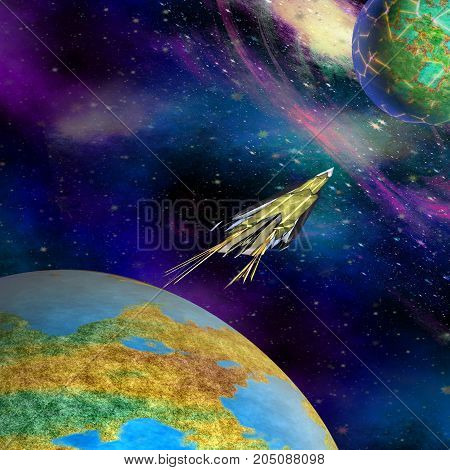 Spacecraft starting from Earth on an unknown planet. Space expedition flying from Earth to space. 3d illustration