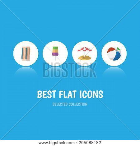 Flat Icon Summer Set Of Sphere, Parasol, Sundae And Other Vector Objects