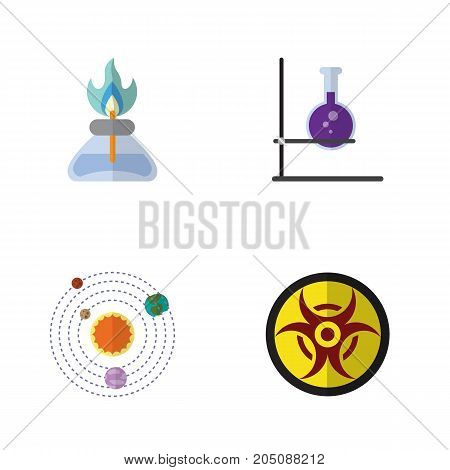 Flat Icon Study Set Of Milky Way, Flame, Flask And Other Vector Objects