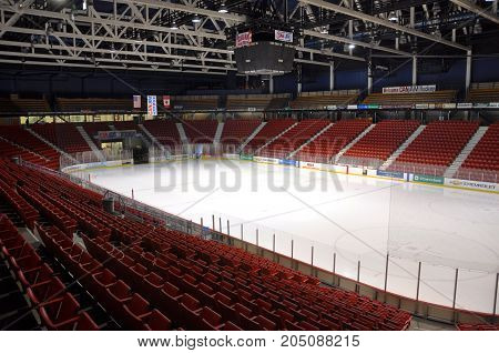 LAKE PLACID, NY, USA - MAR. 20, 2011: Herb Brooks Arena, known as the Olympic Center, Lake Placid, New York, USA. This arena hosted various events during the 1932 and 1980 Winter Olympic Games.