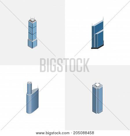 Isometric Building Set Of Skyscraper, Residential, Apartment And Other Vector Objects
