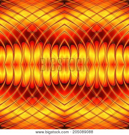 Abstract seamless wavy background with intertwined lines and hearts. Red and gold seamless pattern with oval shapes creating an illusion of movement. 3d rendering