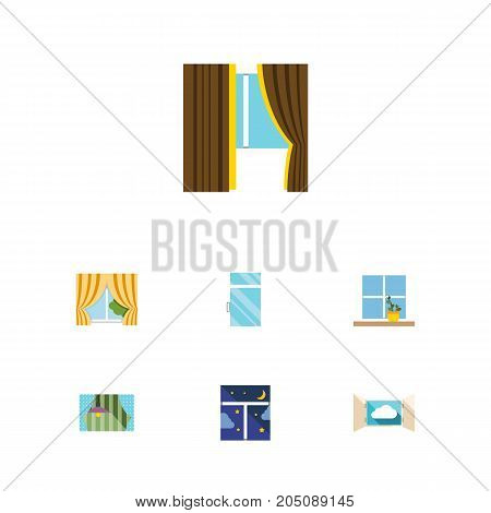 Flat Icon Window Set Of Curtain, Flowerpot, Glass And Other Vector Objects
