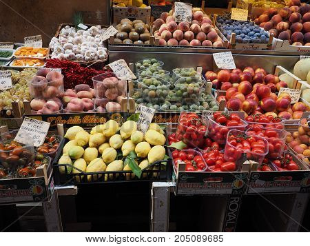 Vegetables And Fruits In Bologna
