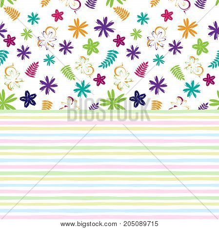 Flowery bright pattern in small-scale colored flowers on striped background. Floral seamless background for textile book covers manufacturing print