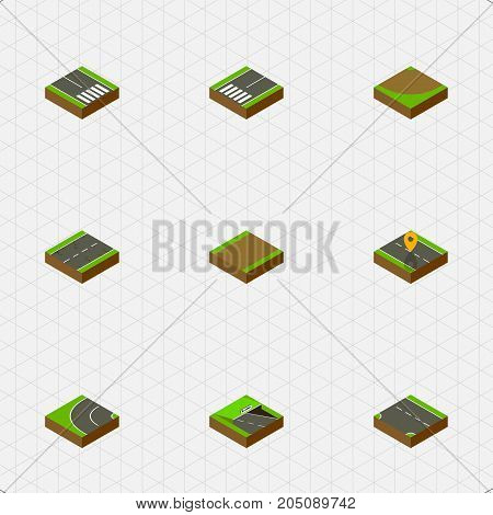 Isometric Road Set Of Pedestrian, Underground, Way And Other Vector Objects