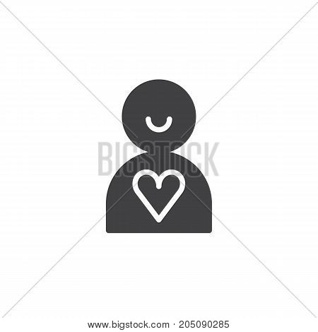 Donor icon vector, filled flat sign, solid pictogram isolated on white. Charity symbol, logo illustration