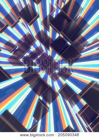 Abstract colored glowing cubes background. 3d render illustration