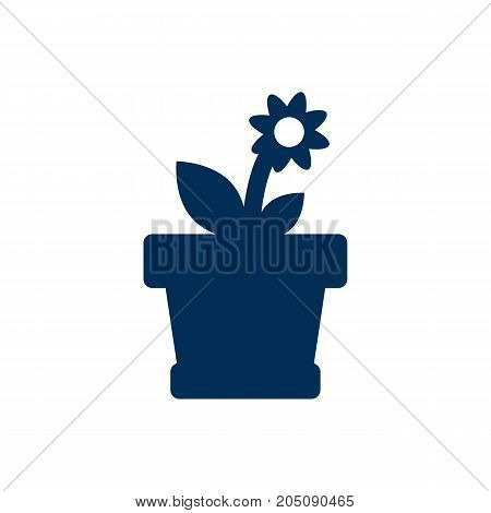 Vector Flower  Element In Trendy Style.  Isolated Flowerpot Icon Symbol On Clean Background.