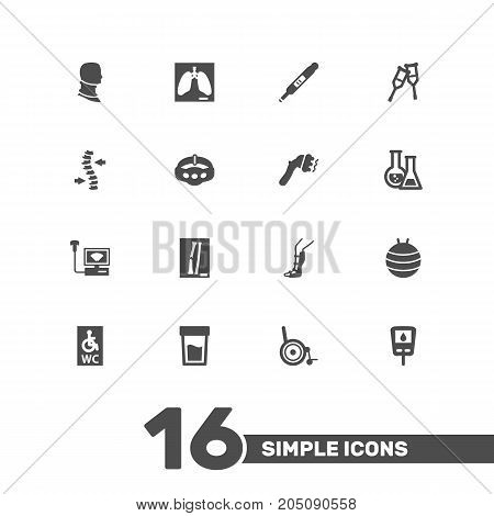Collection Of Machine, Spine, Flask And Other Elements.  Set Of 16 Medicine Icons Set.