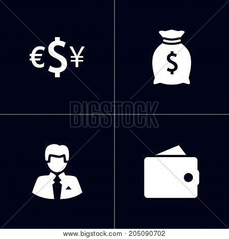 Collection Of Sack, Currency, Worker And Other Elements.  Set Of 4 Finance Icons Set.