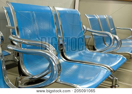 Chairs in the hospital hallway. hospital interior.